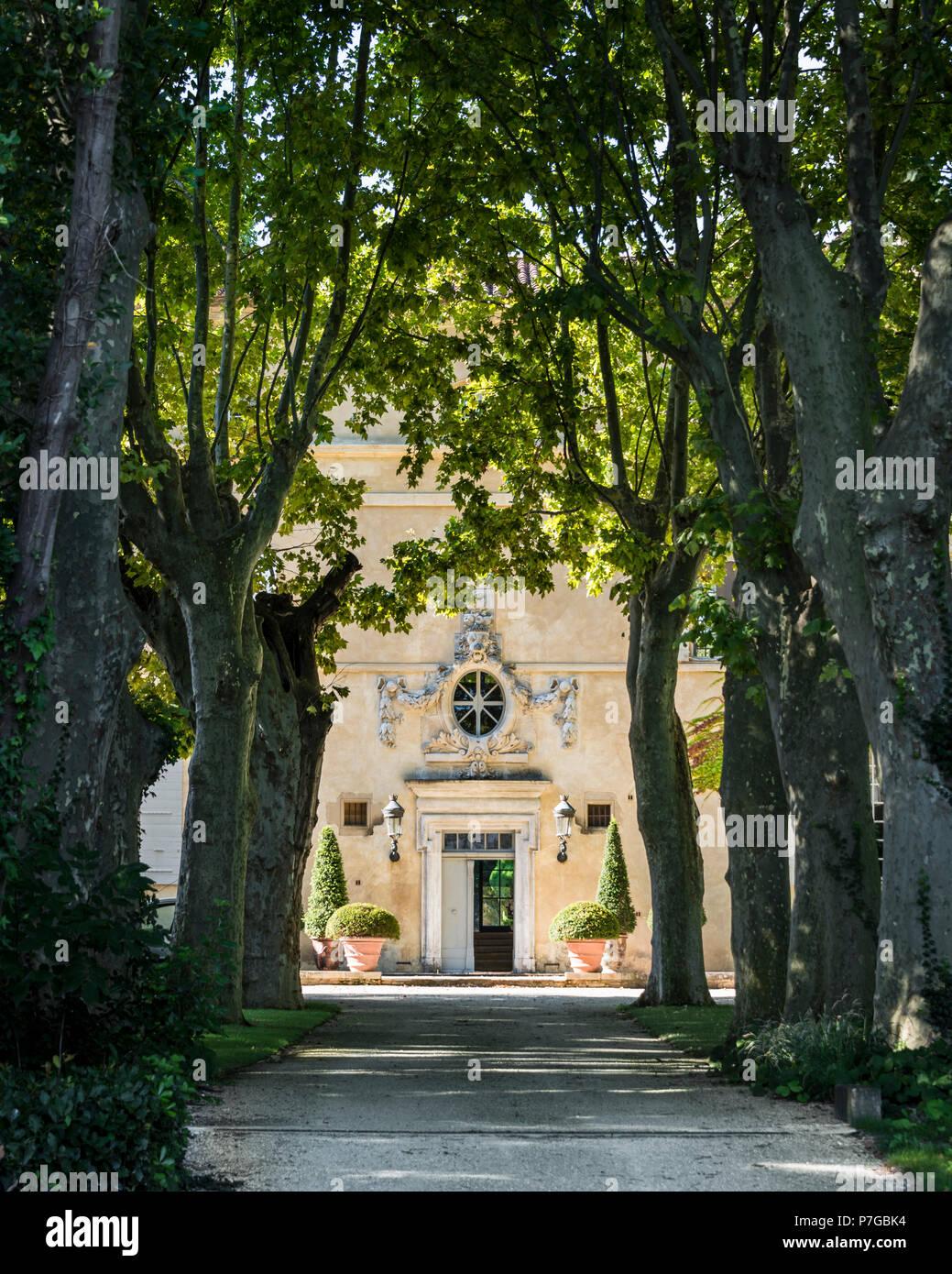 La façade extérieure de l'arbre à l'ombre d'allée bordée de châteaux du 18e siècle à St Remy de Provence Photo Stock