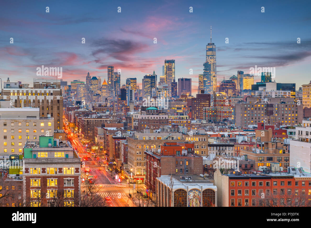 New York, New York, USA cityscape in Manhattan au crépuscule. Photo Stock