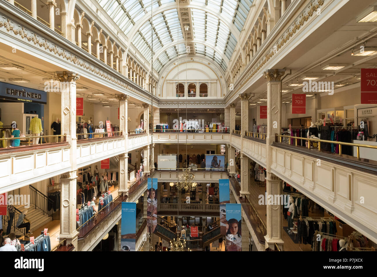Le magasin Frasers, Glasgow, Scotland, UK l'intérieur Photo Stock