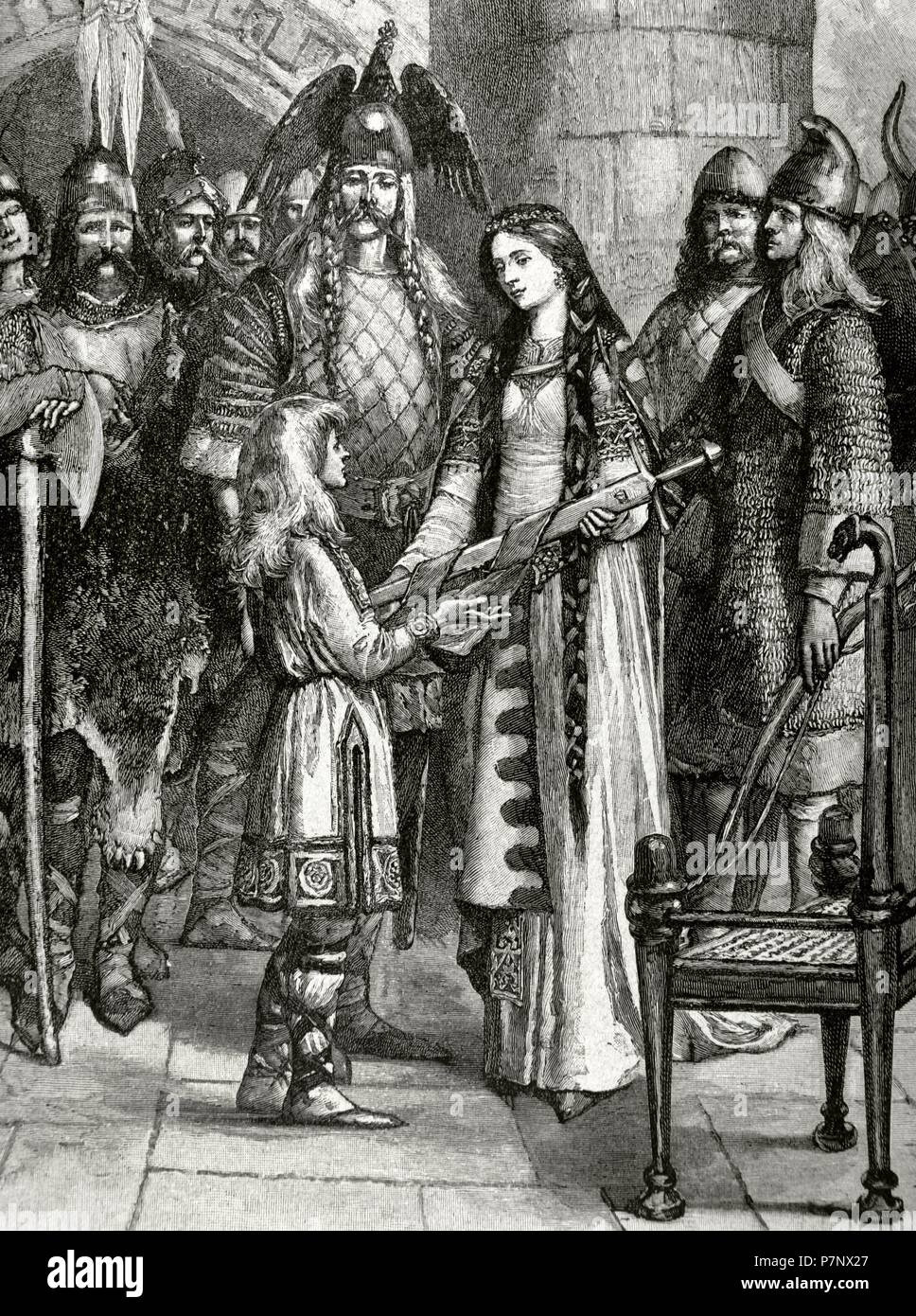 Eric Hákonar Hákonarsonar (966-1016). Gouverneur de Norvège. Comte de Northumbrie et Lade. La gravure. Photo Stock