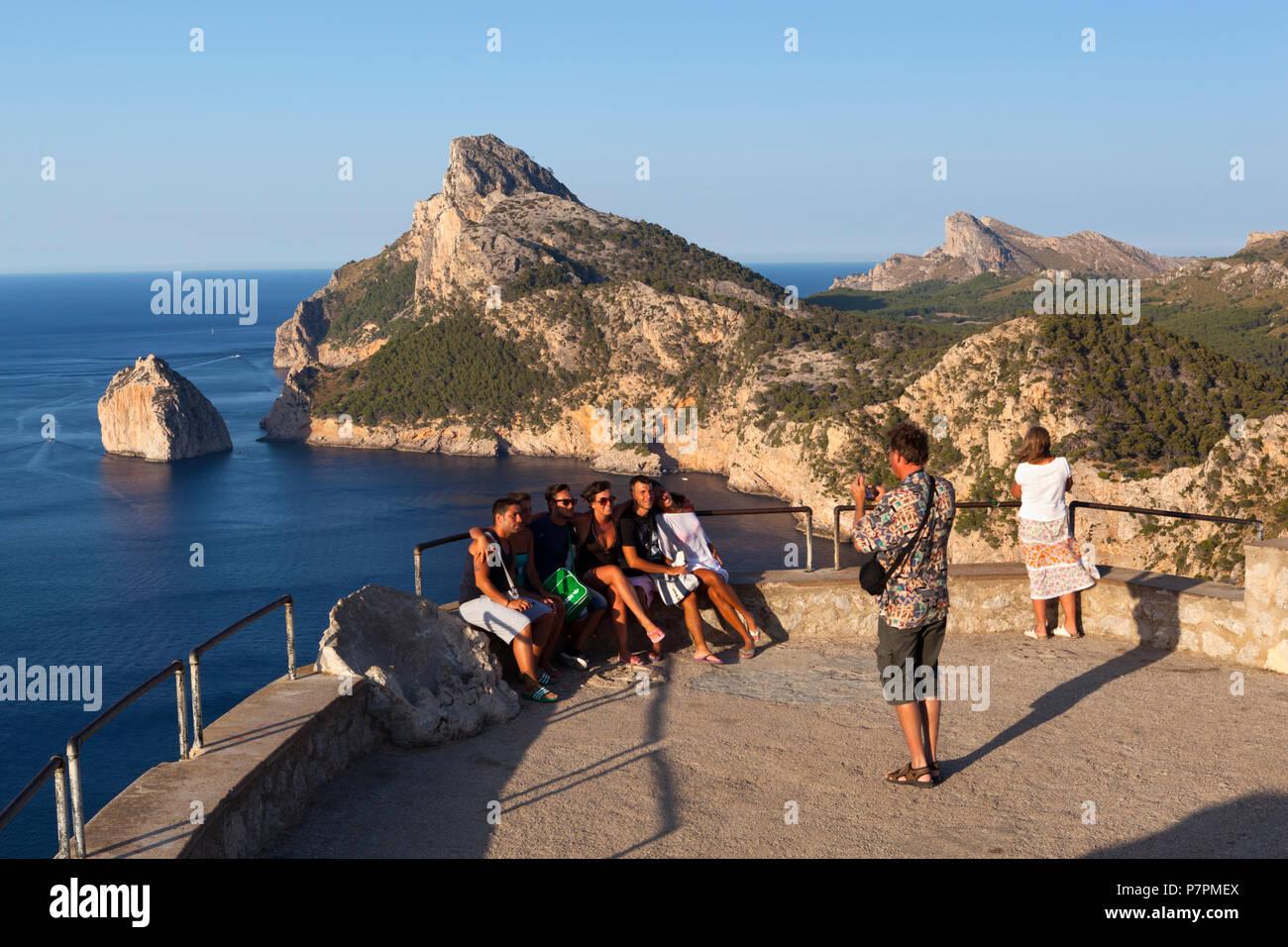 Vue sur le Cap de Formentor de Mirador es Colomer et Punta Nau Photo Stock
