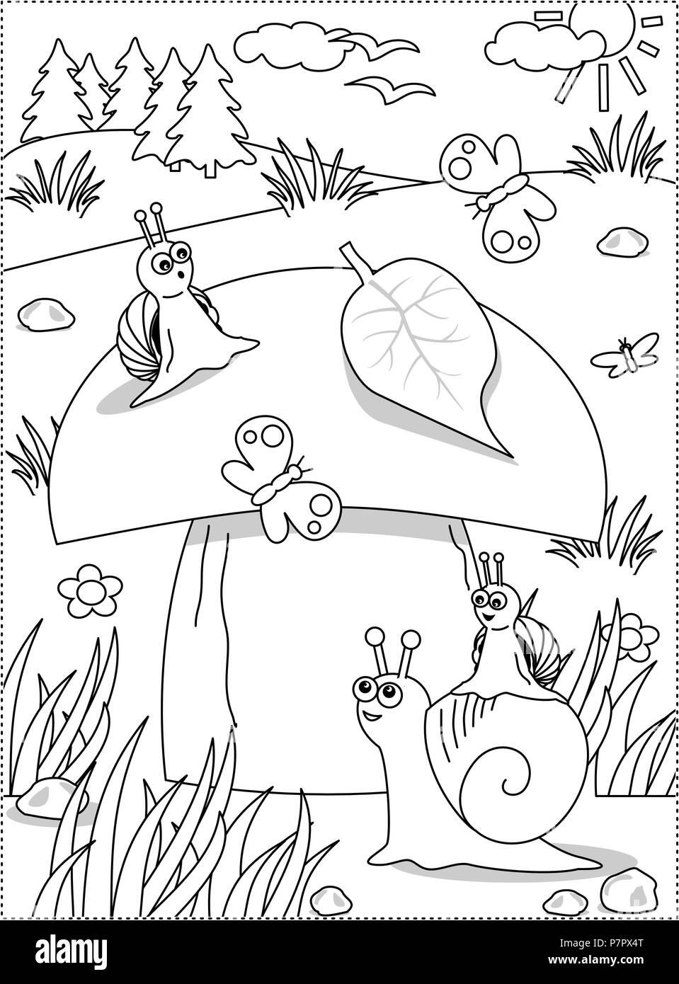 Coloriage Escargot Automne.L Ete Ou Automne Theme Joie Coloriage Avec Gros Champignons