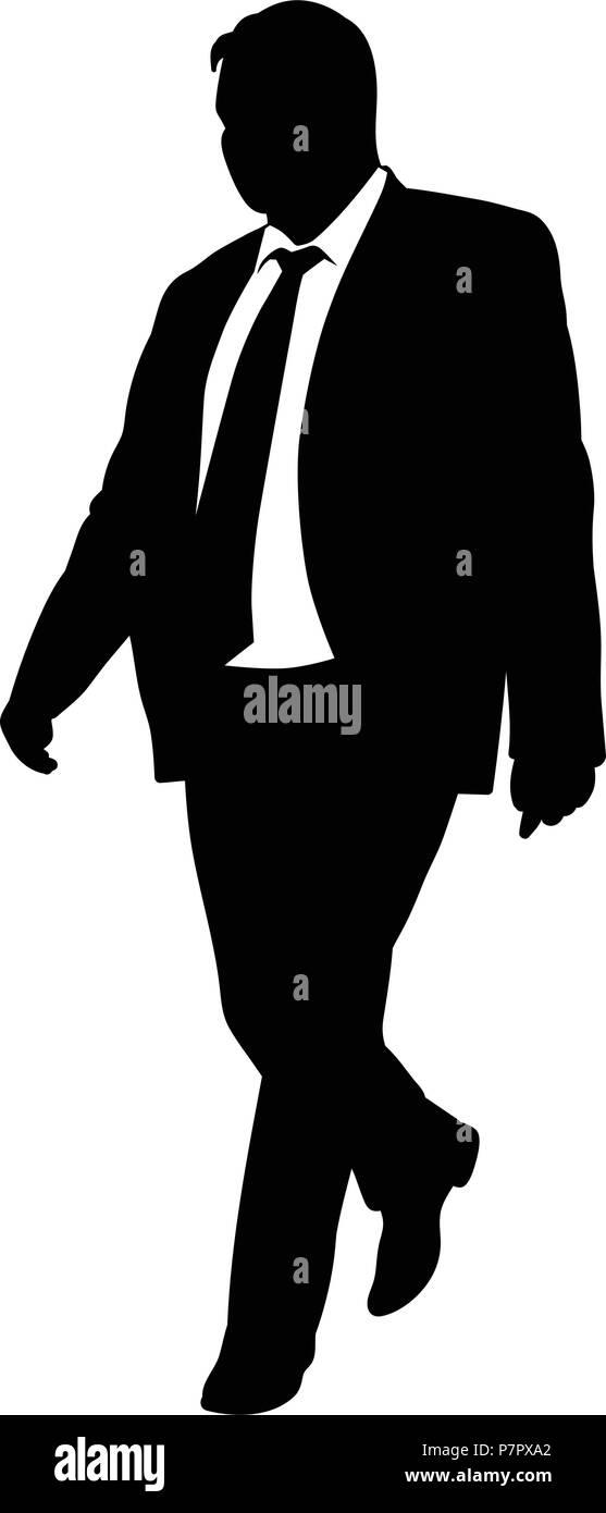 Silhouette D Un Homme Marche Dans Un Costume Et Une Cravate Vector