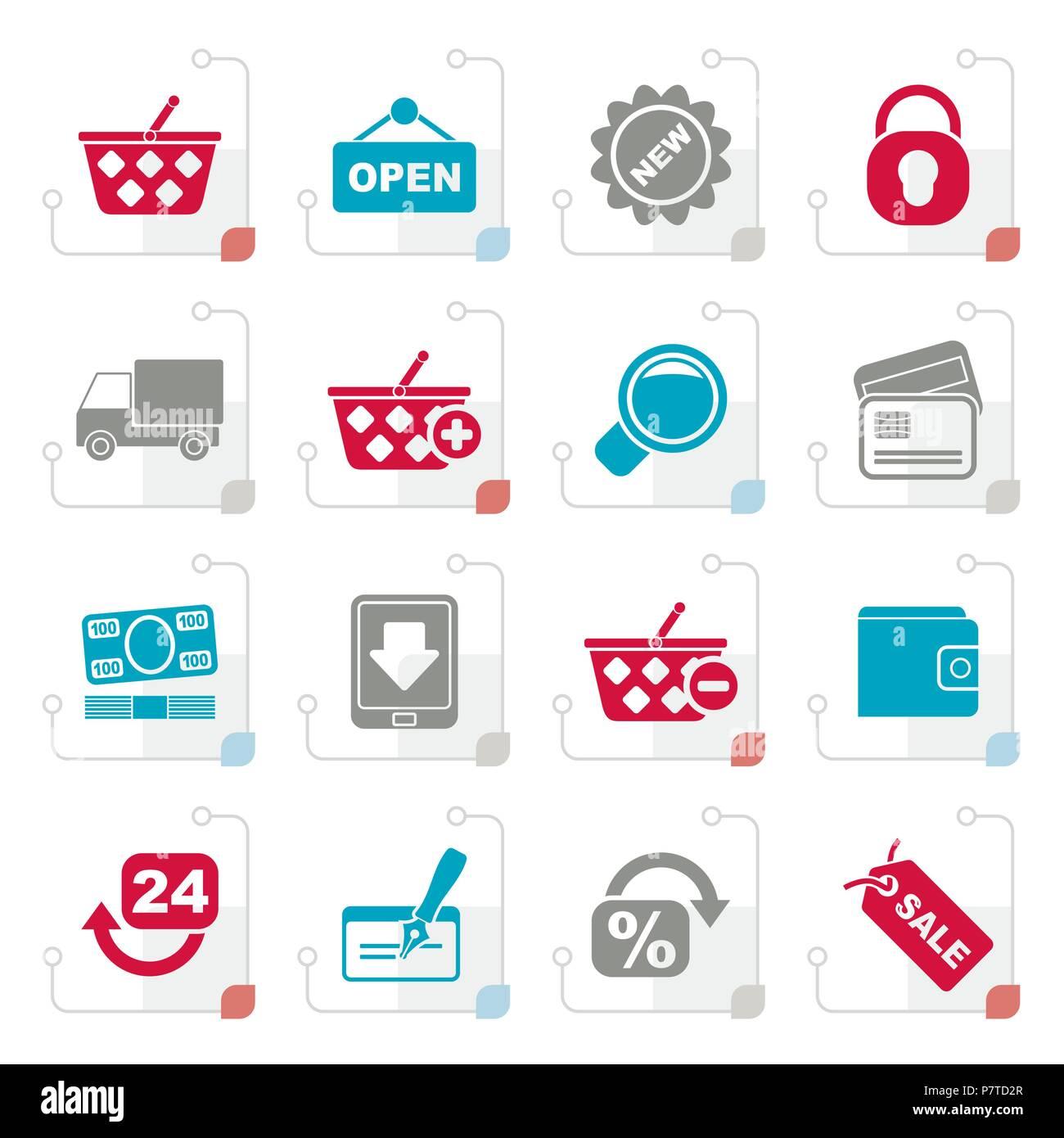 Achat et vente au détail icônes stylisées - vector icon set Photo Stock