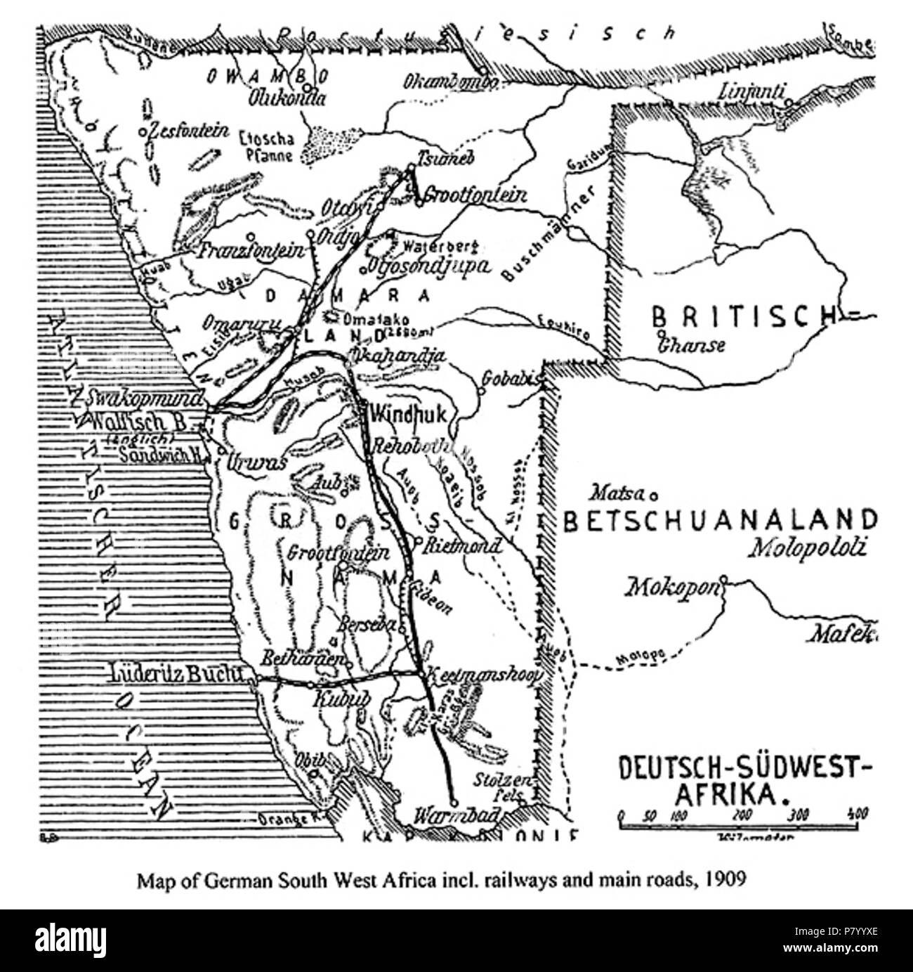Carte Afrique Du Sud Ouest.Anglais Carte De L Afrique Du Sud Ouest Allemand Aujourd Hui