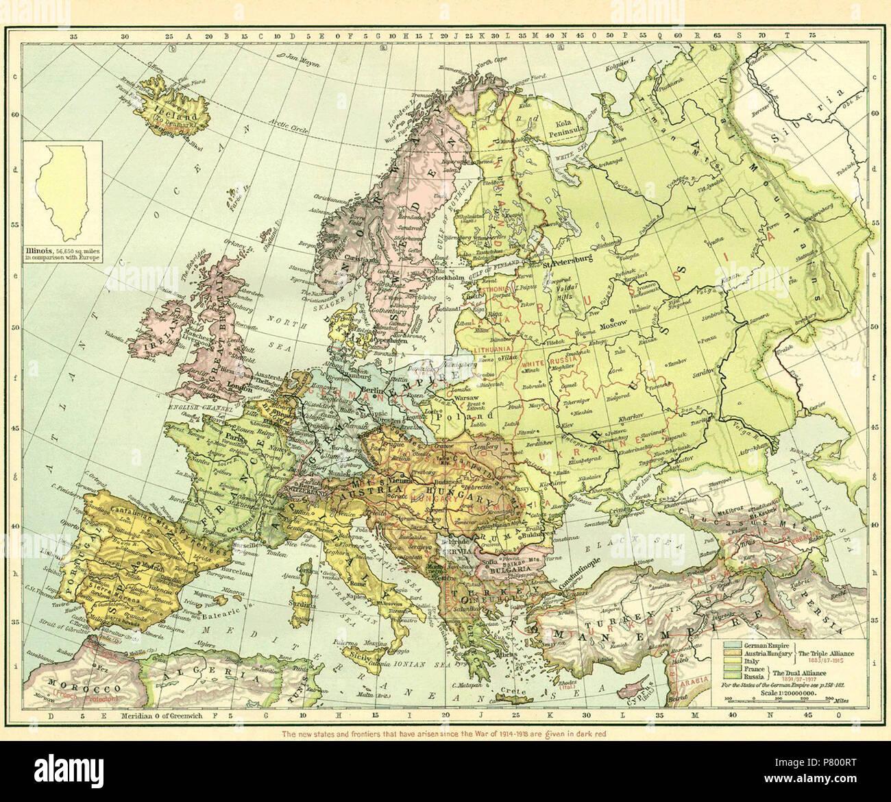 Carte De Leurope Apres La Premiere Guerre Mondiale.Anglais Carte De L Europe Immediatement Apres La Premiere