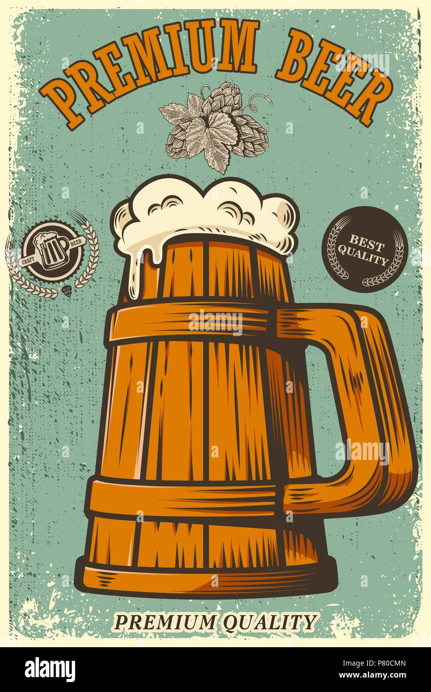 Laffiche De La Biere En Style Retro Les Objets Sur Grunge Background Lelement Conception Carte Visite Flyer Banniere