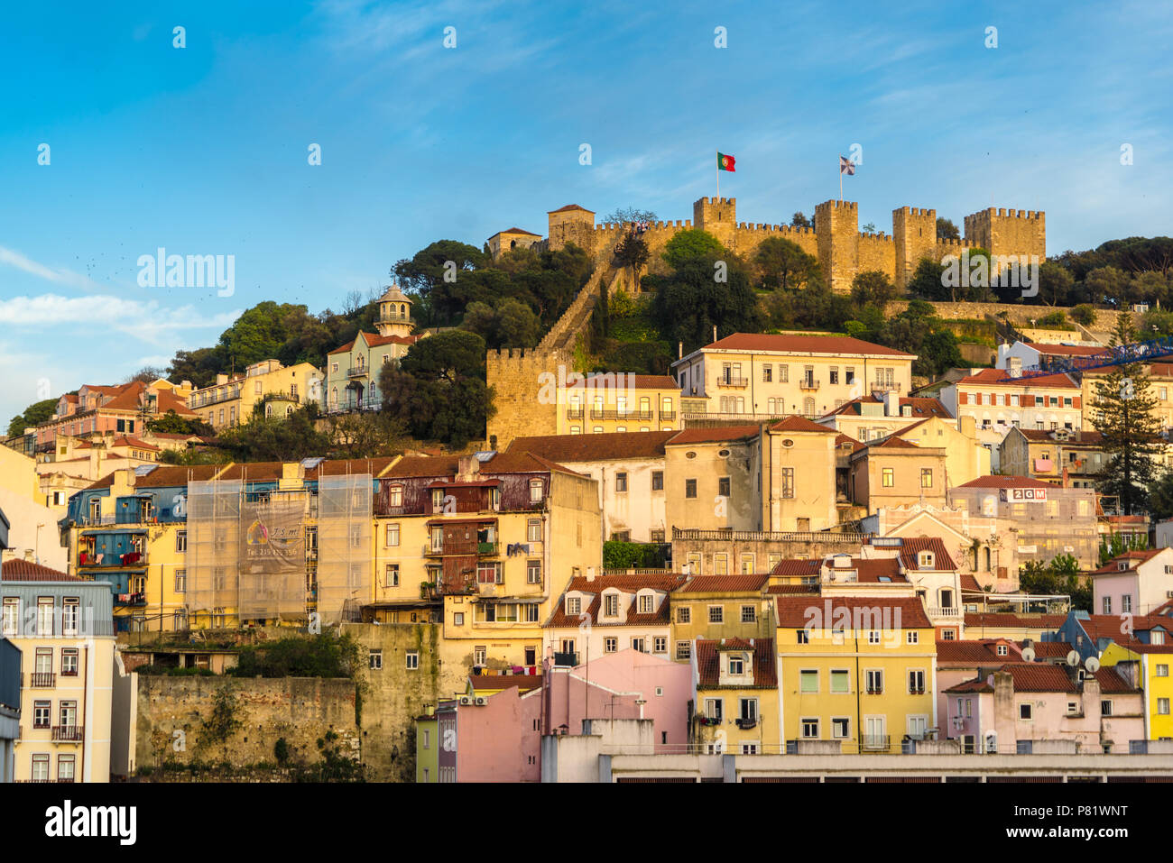 Lisbonne, Portugal, vue sur le château Photo Stock