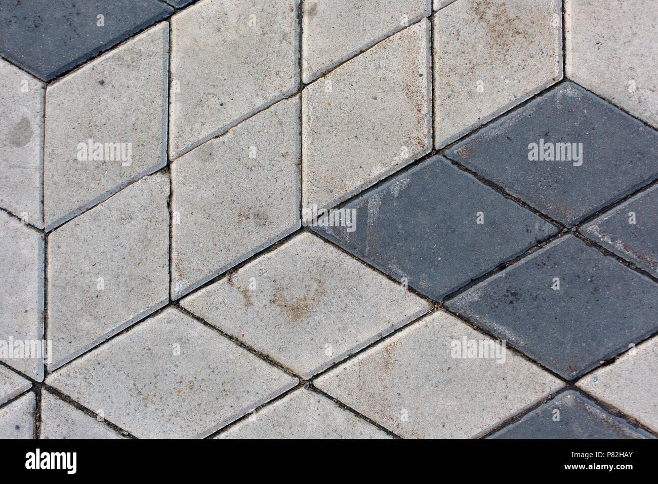 Tuiles béton motif losange texture background Banque D'Images