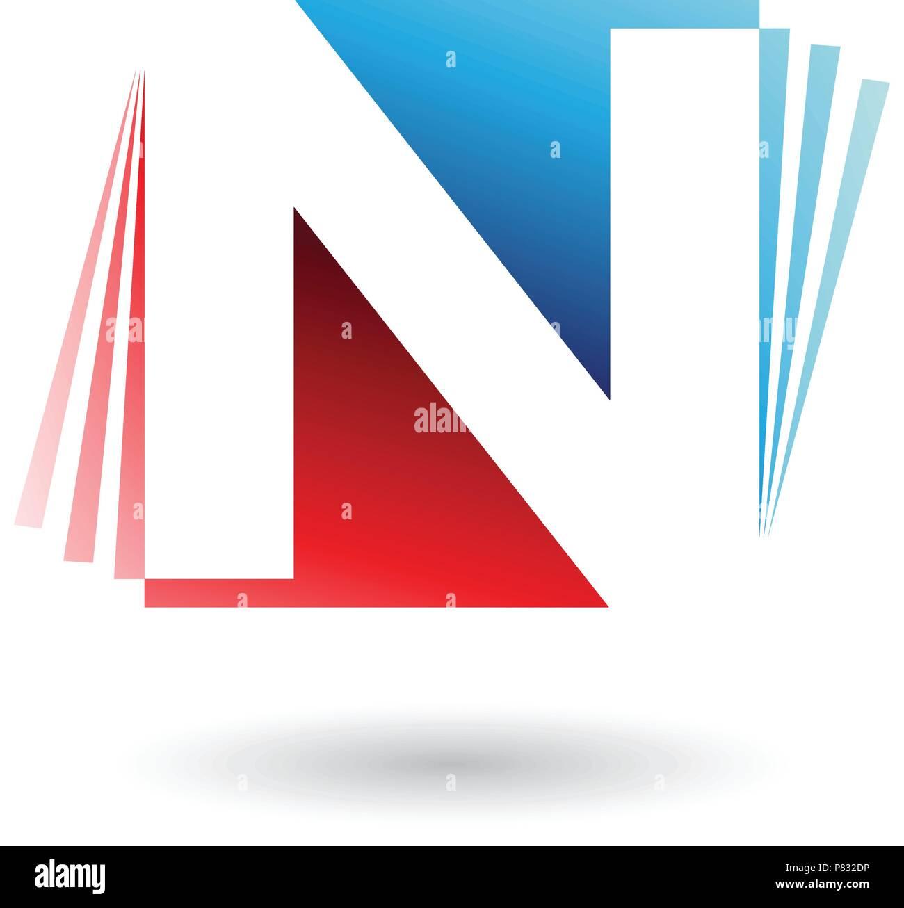 Illustration Vecteur de rouge et bleu Lettre N avec bandes ...