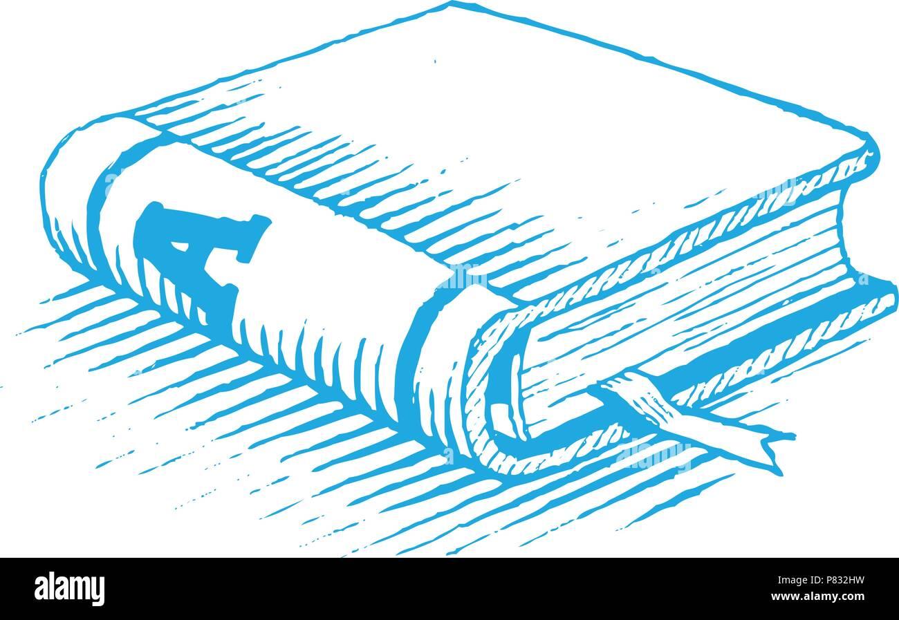 Vectorisation D Un Dessin D Encre Livre Bleu Isole Sur Fond