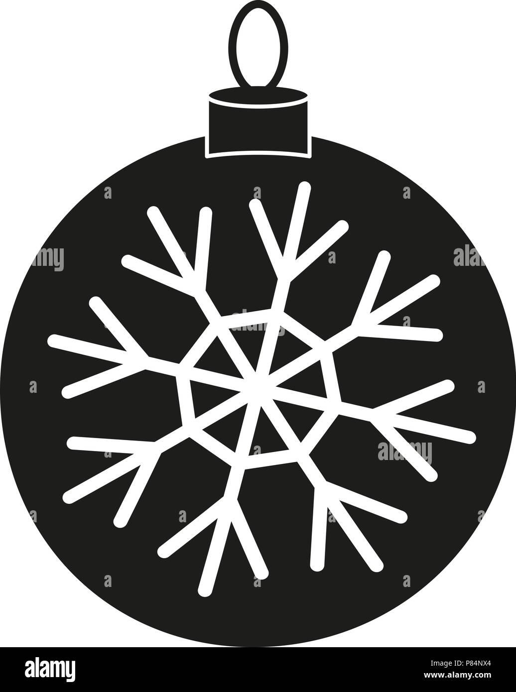 Noir Blanc Boule De Noël Snowflake Silhouette Vecteurs Et