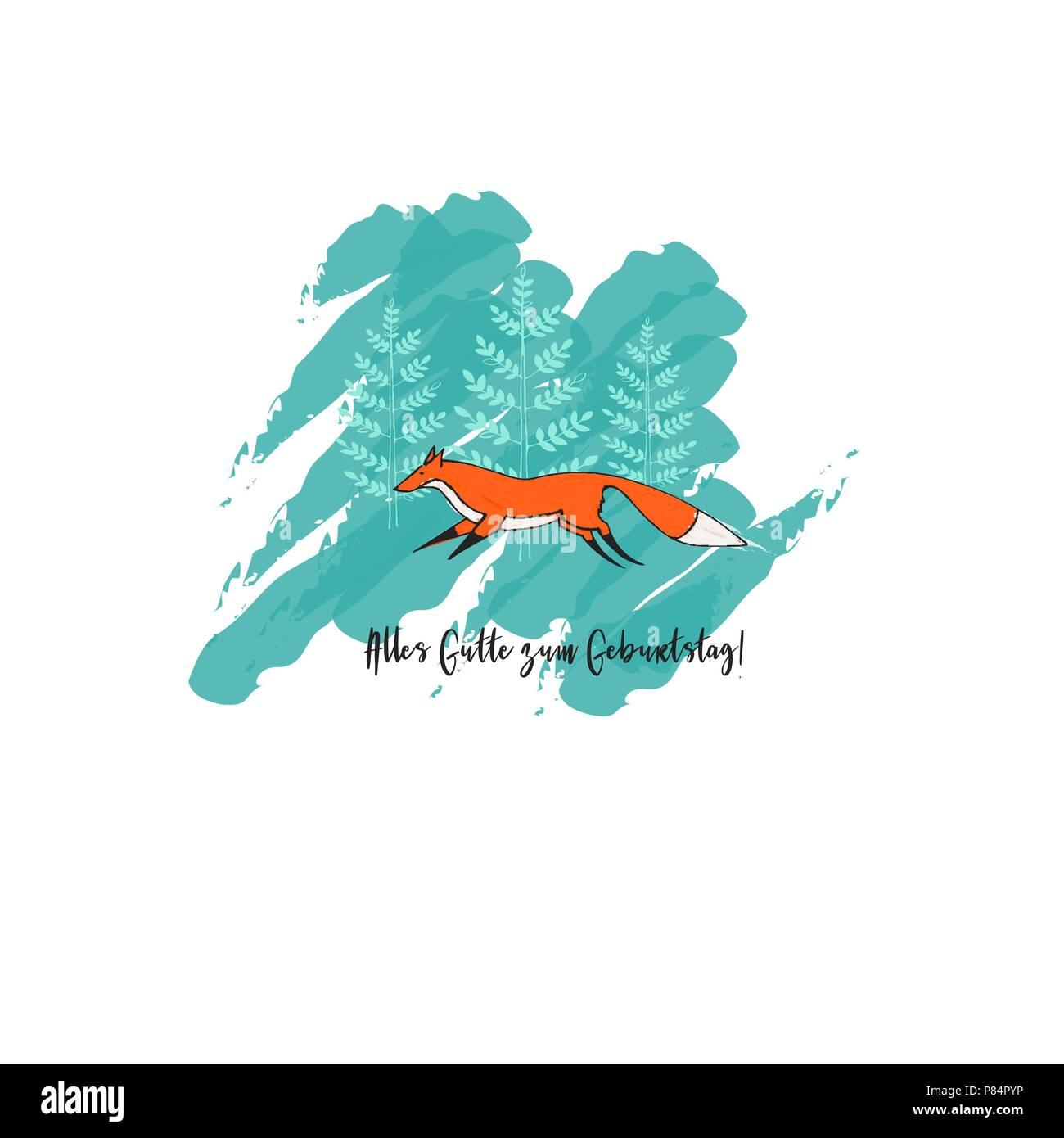 La Carte De Souhaits Avec Mignon Exécutant Fox Et Darbres Sur L