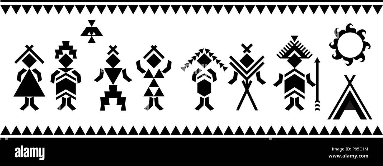 Banque Vectorielle les autochtones silhouettes symboles vectoriels. motifs vectoriels