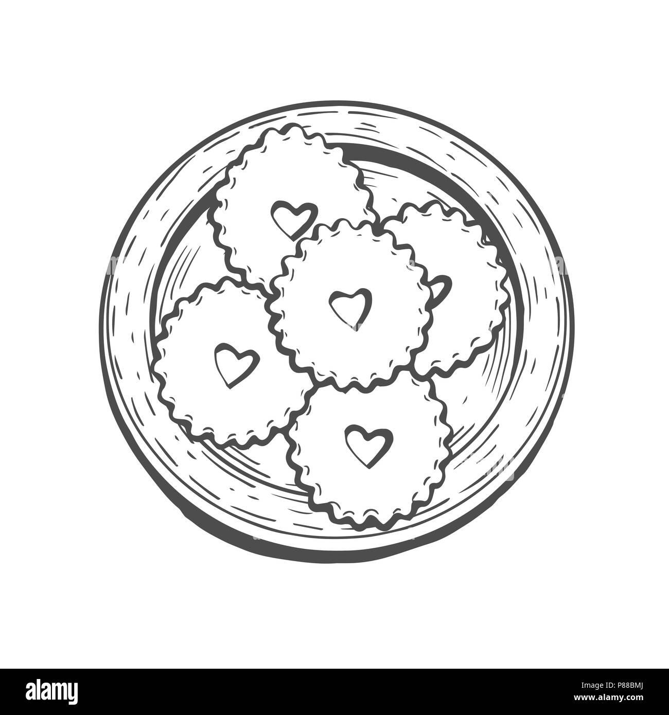 Faites à la main. Douceurs orientales illustration vectorielle. Moyen-orientaux. Arrière-plan de menu alimentaire. vue d'en haut. Modèle de conception de Monochrom. Illustration de Vecteur