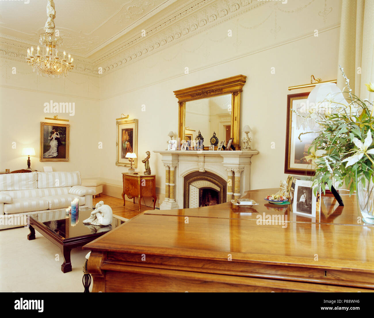 Grand piano in traditional living room