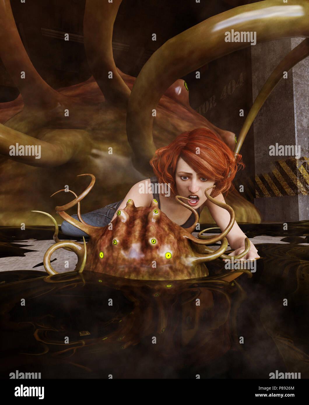 Fantasy 3d Illustration Femme D Etre Attaquer Par Un Monstre