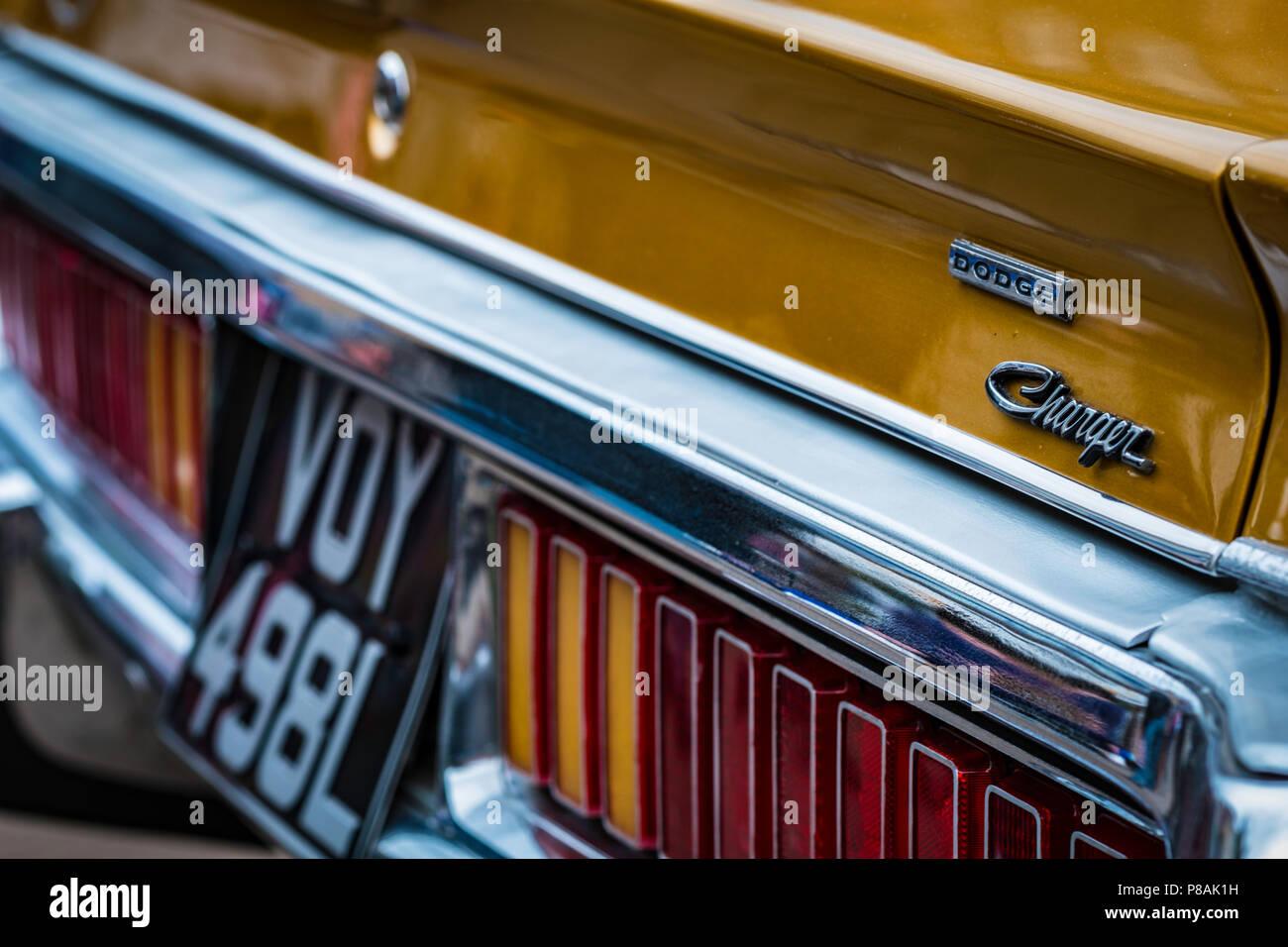 Deatail d'une Dodge Charger, l'une des voitures emblématiques des Amériques. Banque D'Images