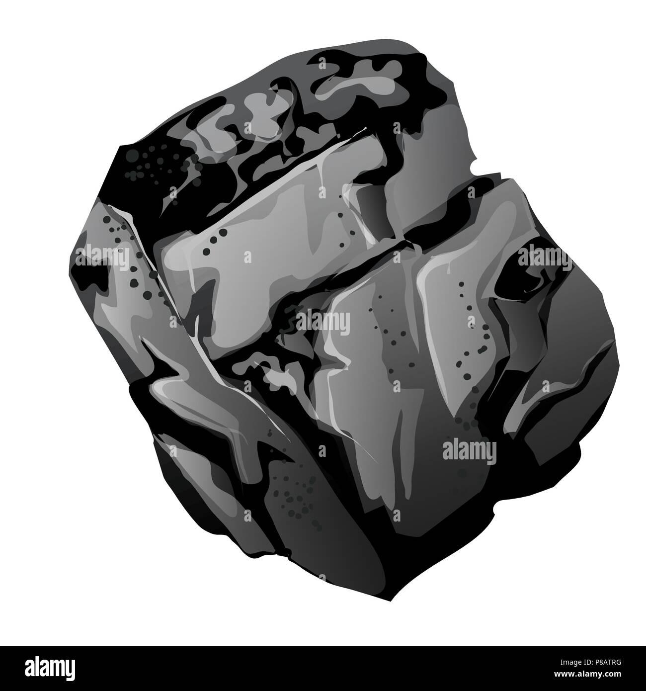 Un fragment de charbon de pierre. La source d'énergie et minéraux utiles isolé sur fond blanc. Cartoon Vector illustration close-up. Illustration de Vecteur