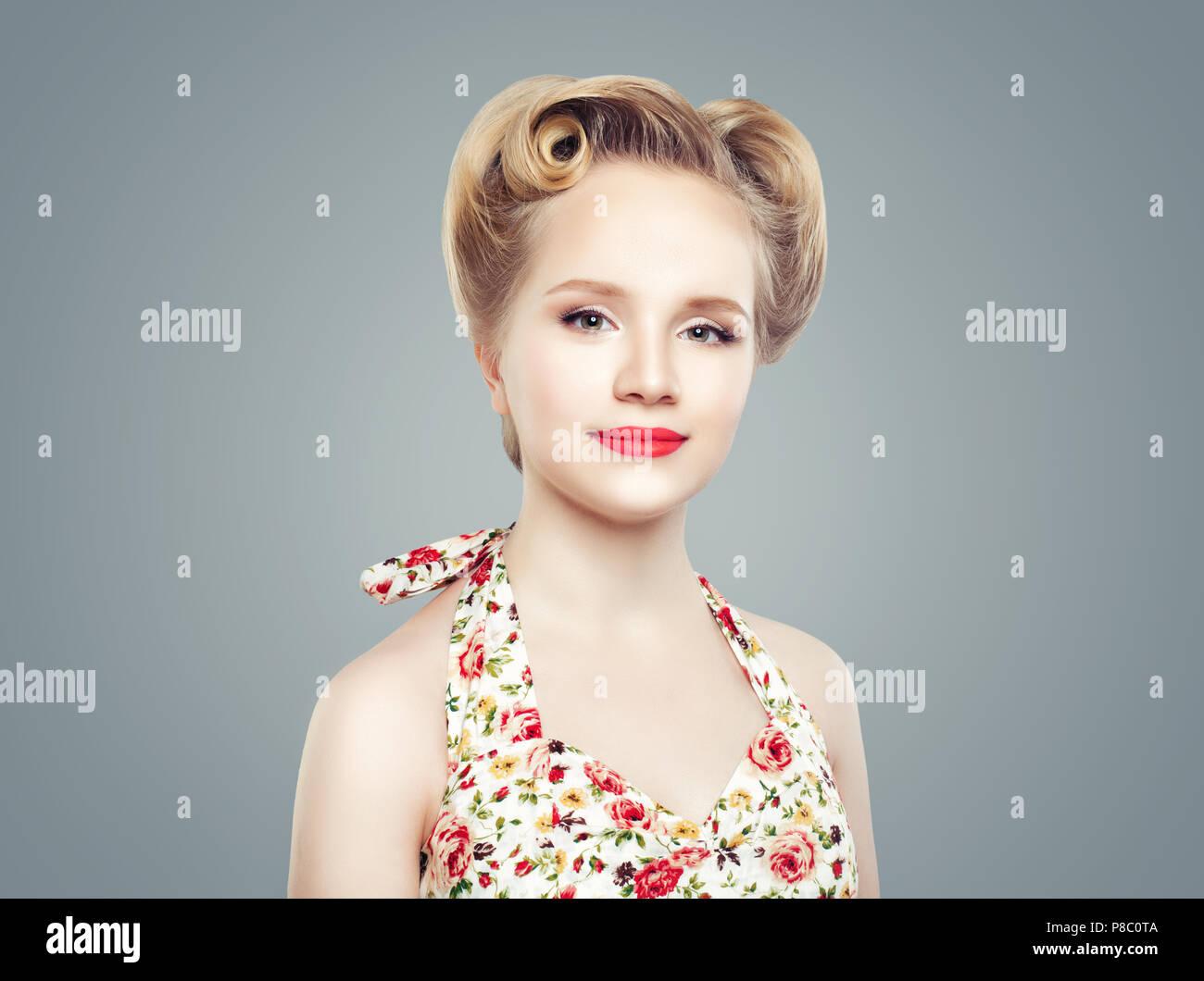 cute retro vintage pin-up. maquillage, coiffure et cosmétiques