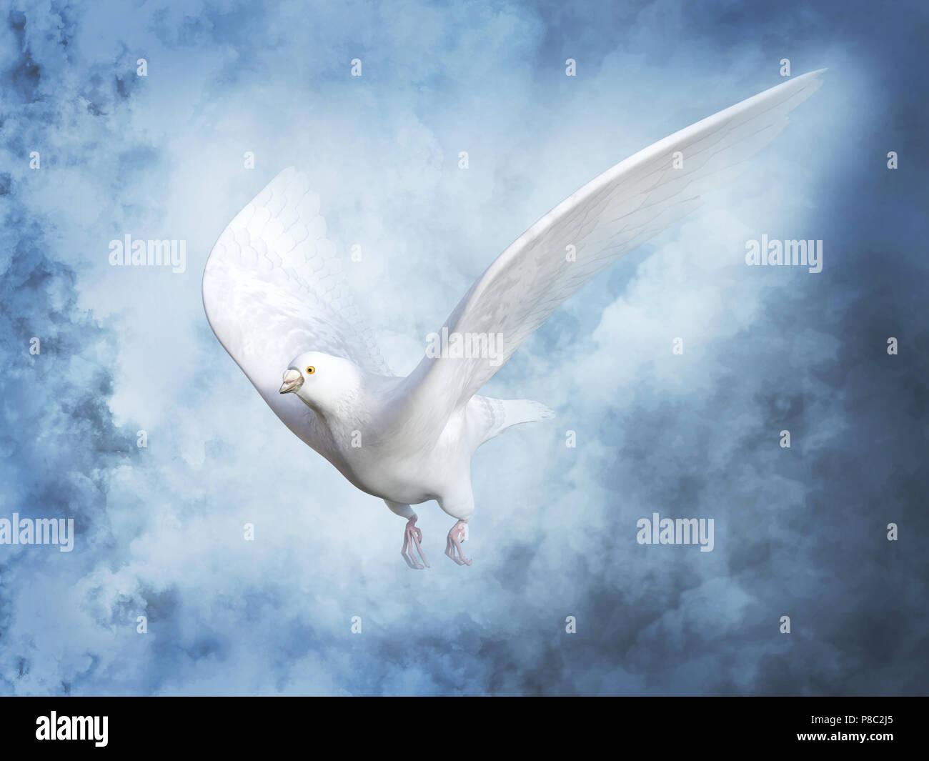 Le rendu 3D d'un pigeon blanc colombe de la paix ou de voler dans le ciel avec des nuages autour d'elle. Banque D'Images