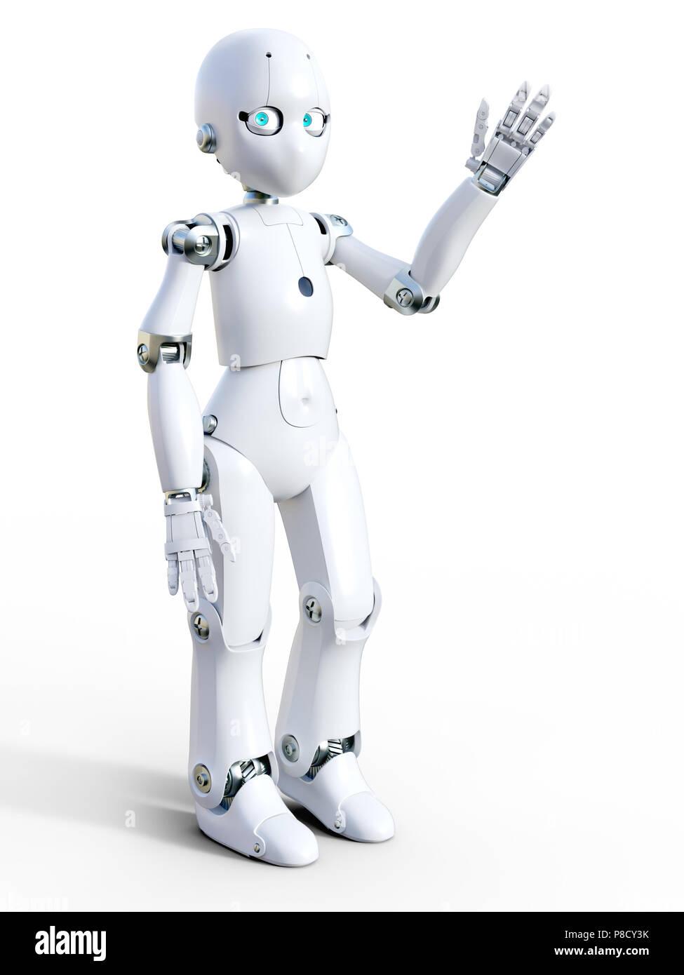 Dessin Sympa le rendu 3d d'un robot de dessin animé sympa blanc forme bonjour
