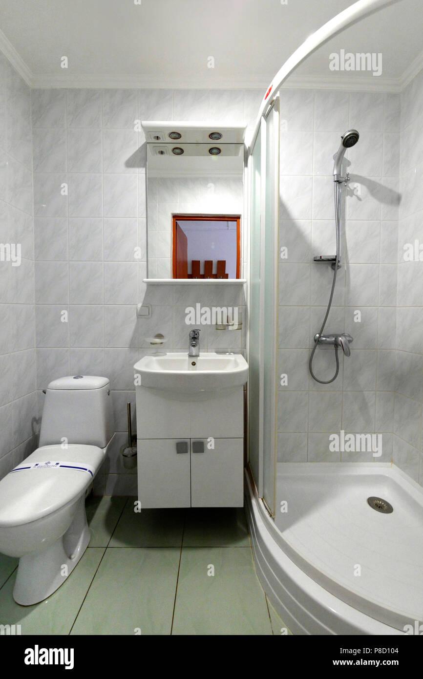 Une petite salle de bains avec wc, lavabo et une cabine de ...
