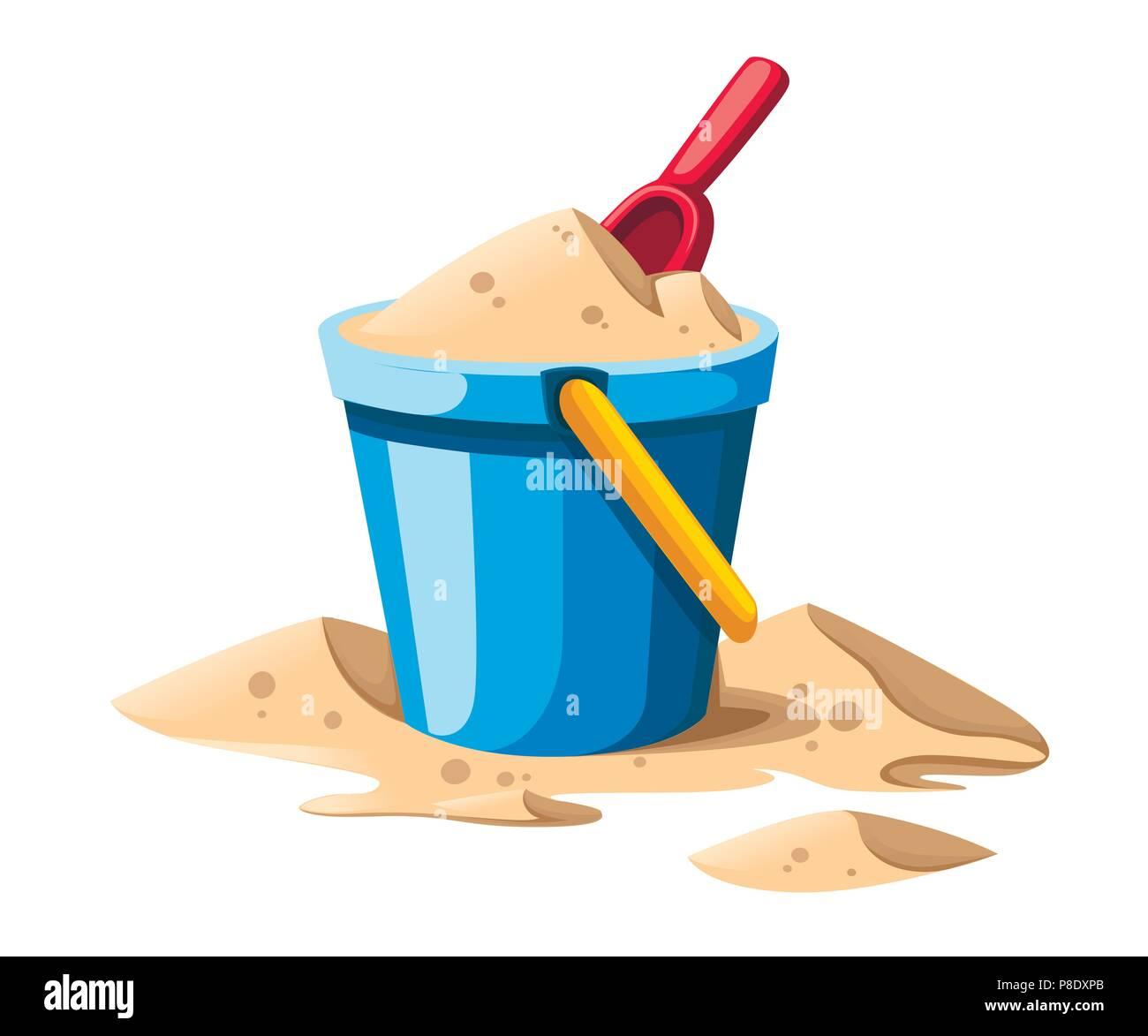 Seau et chat. Dans sable seau bleu avec poignée jaune. Pelle rouge. Jouet pour enfants en plastique coloré. L'icône de l'été. Télévision vector illustration isolé sur whit Photo Stock