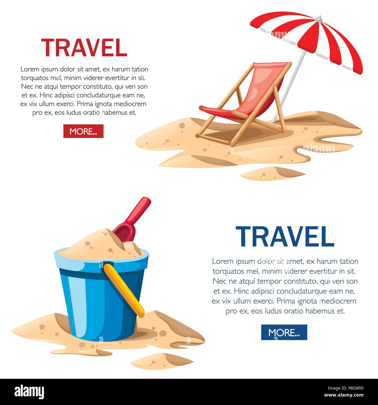 Seau et chat. Chaise de plage rouge avec parapluie. Chaise en bois et de jouets en plastique sur le sable. L'icône de l'été. Télévision vector illustration sur fond blanc. Trav Photo Stock