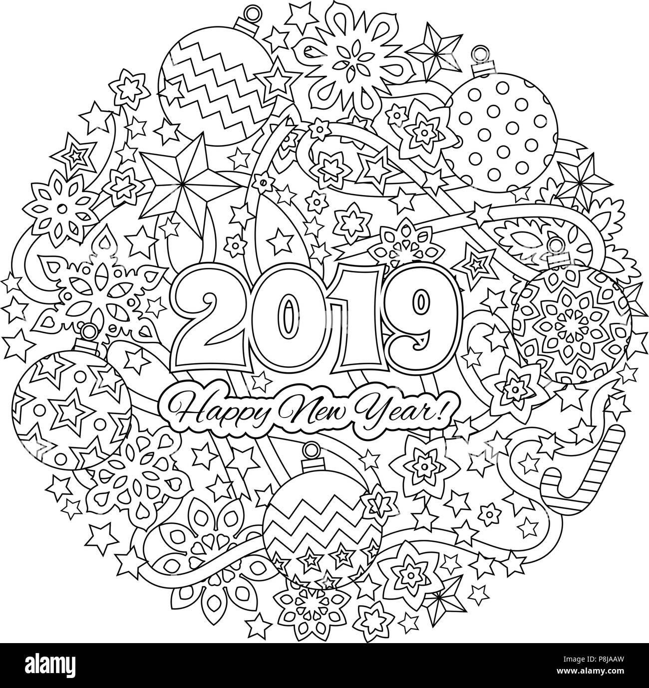 Nouvelle année carte de félicitations avec les chiffres 2018 sur fond des vacances d'hiver. Mandala de Noël. Livre de coloriage antistress pour les adultes. Illustration de Vecteur