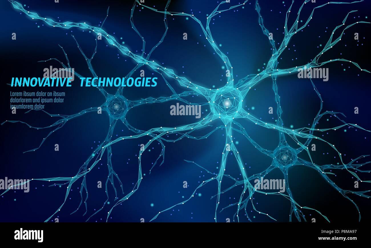 Les droits de l'anatomie poly faible neurone concept. Réseau de neurones artificiels technologie science medicine le cloud computing. AI 3d abstrait système biologie. Polygones Photo Stock