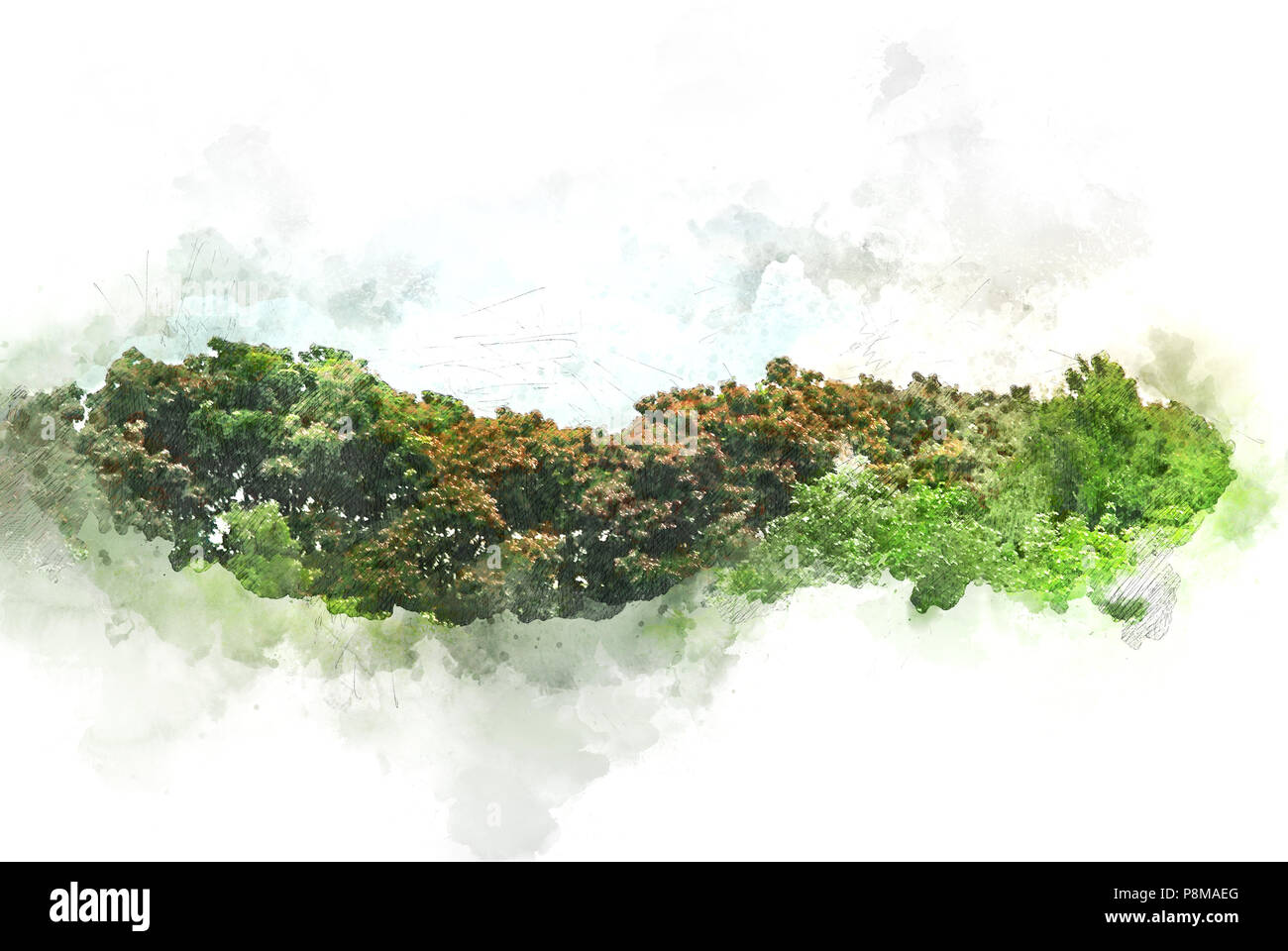 Arbre Abstrait Paysage champ et sur l'illustration à l'aquarelle peinture arrière-plan. Photo Stock