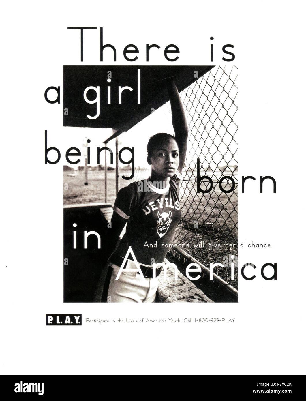1990 USA Magazine annonce P.L.A.Y Photo Stock