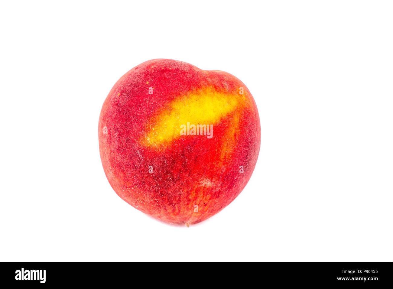 Peach sur fond blanc Photo Stock