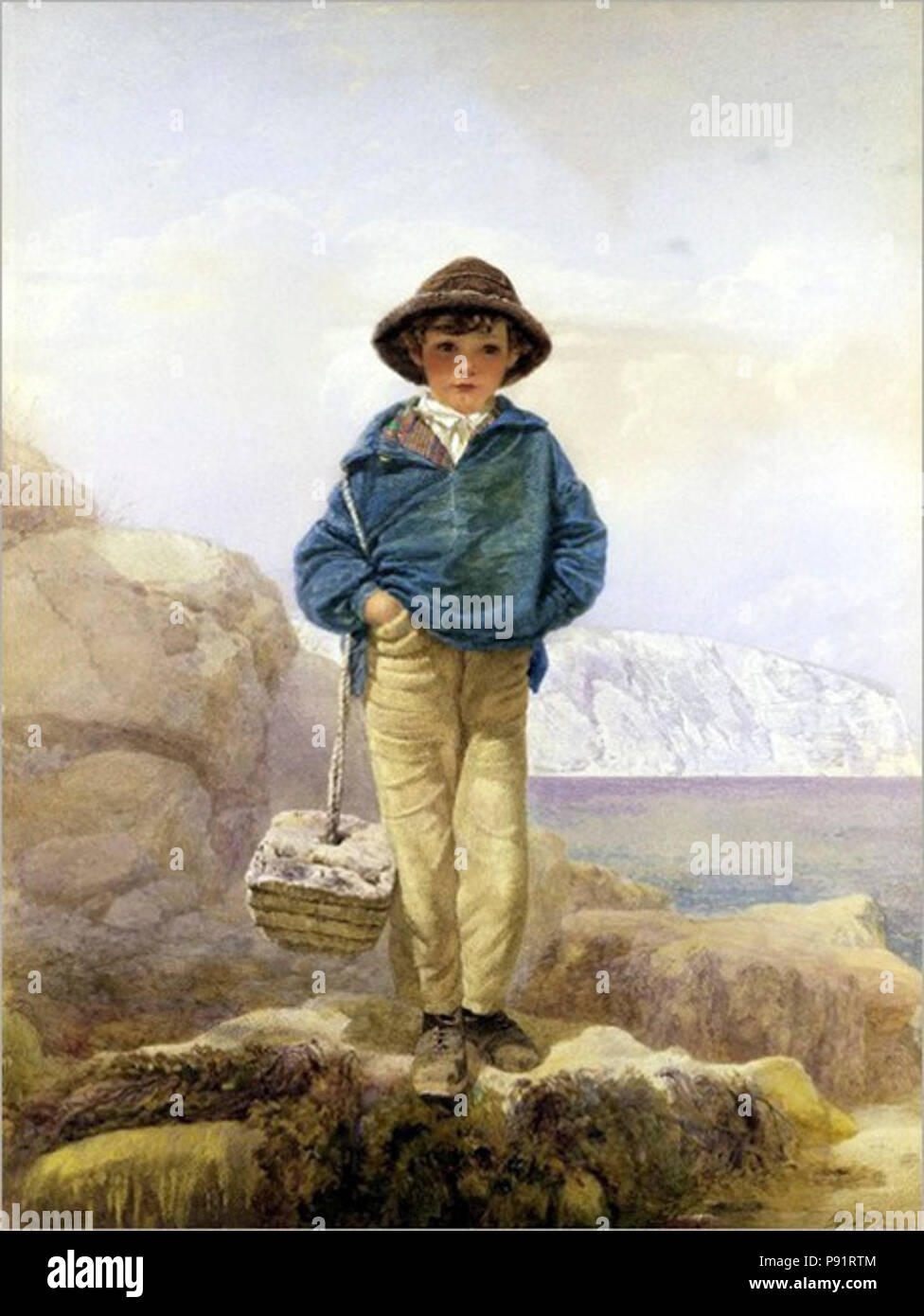 Un pêcheur garçon par Alfred Downing Fripp. Photo Stock