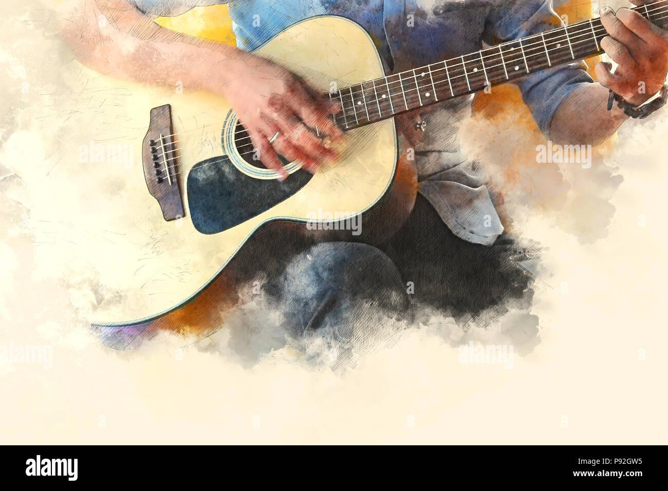 r u00e9sum u00e9 belle homme jouant de la guitare dans l u0026 39 avant