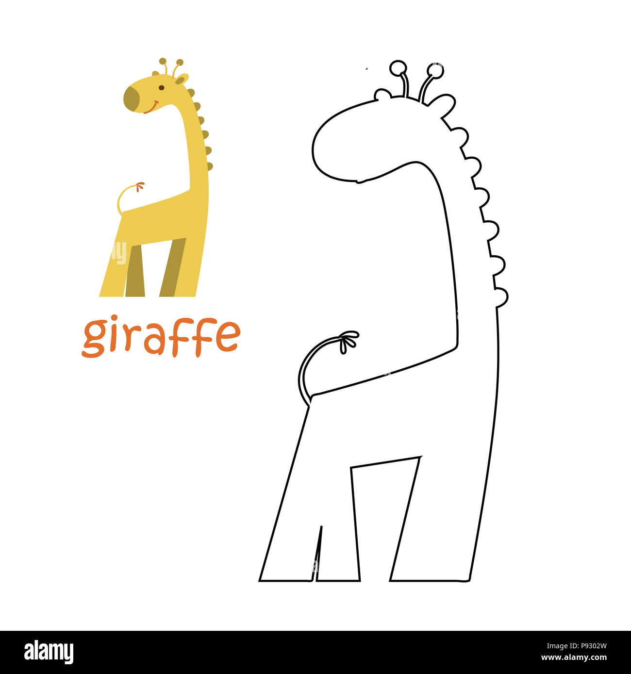 Livre De Coloriage Pour Les Enfants Coloriage Girafe Illustration Set Photo Stock Alamy