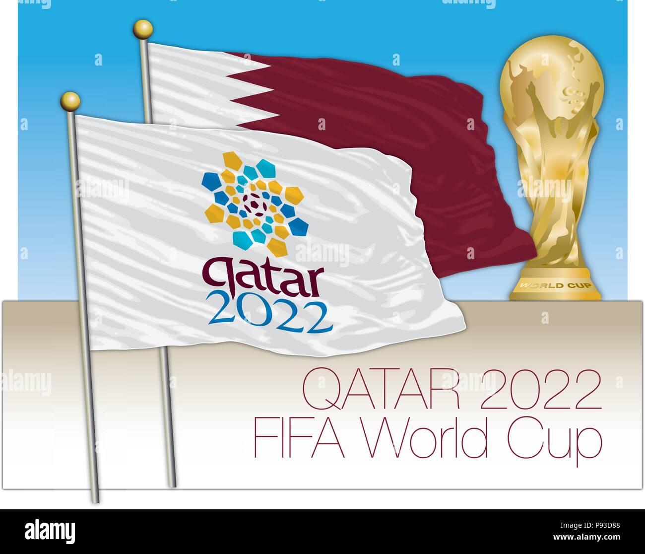Qatar 2022 Coupe du monde de football et les symboles du drapeau Image  Vectorielle Stock - Alamy