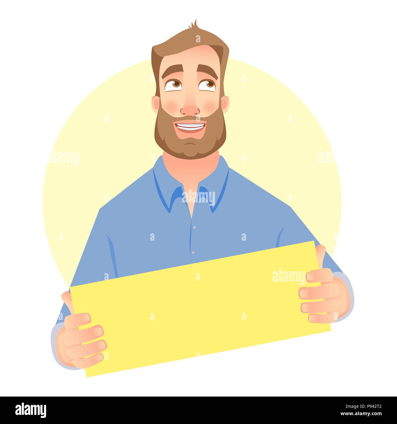 Man Holding Carte Vierge Portrait De Visite Illustration