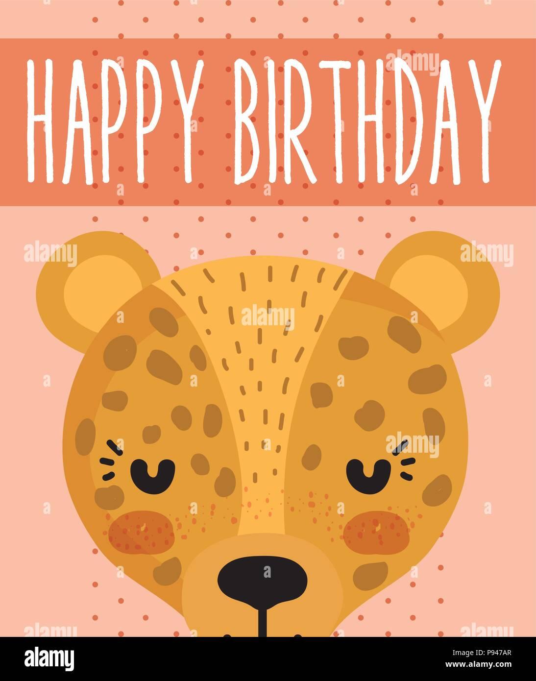 Leopard Happy Birthday Card Cute Cartoon Vector Illustration Graphic