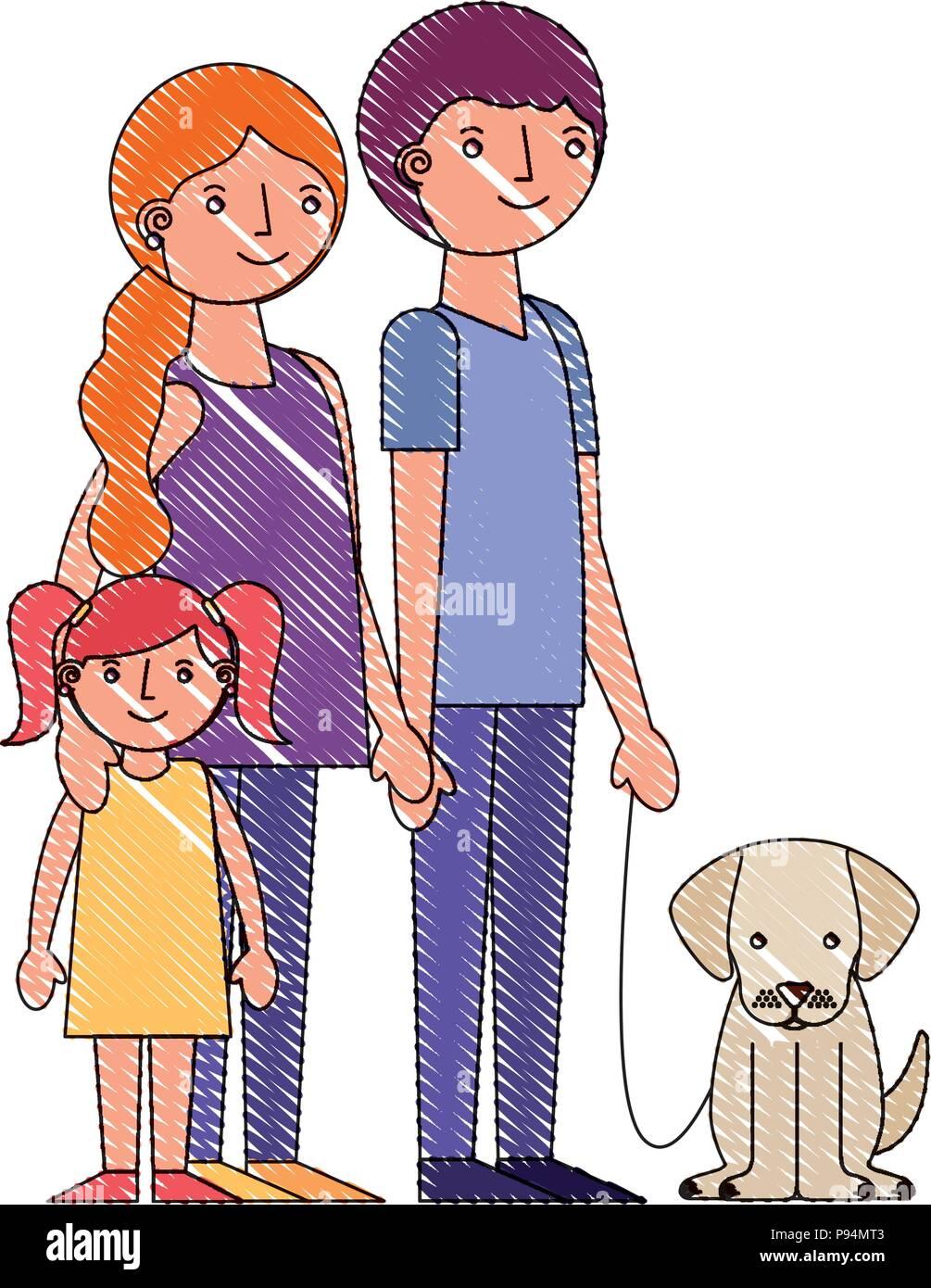 Les Parents De La Famille Maman Papa Et Sa Fille Avec Chien