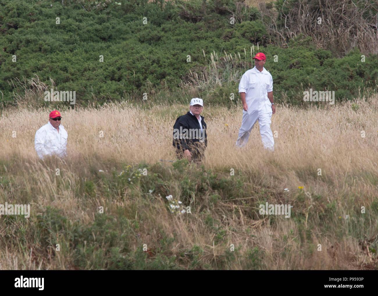 Le président l'atout de Donald Trump à Turnberry Golf resort de l'Ayrshire, Scotland, UK Photo Stock