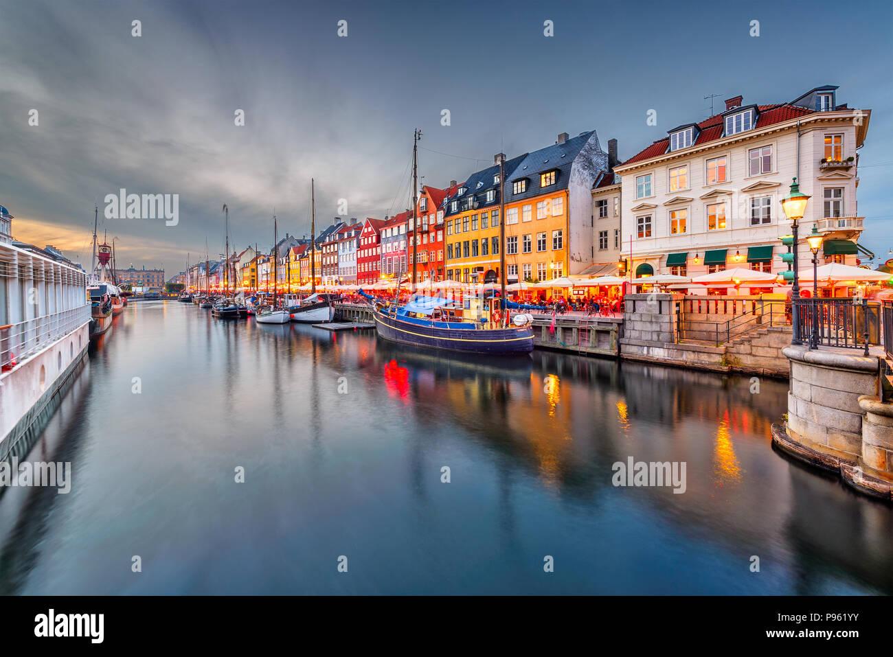 Copenhague, Danemark sur le canal de Nyhavn. Photo Stock