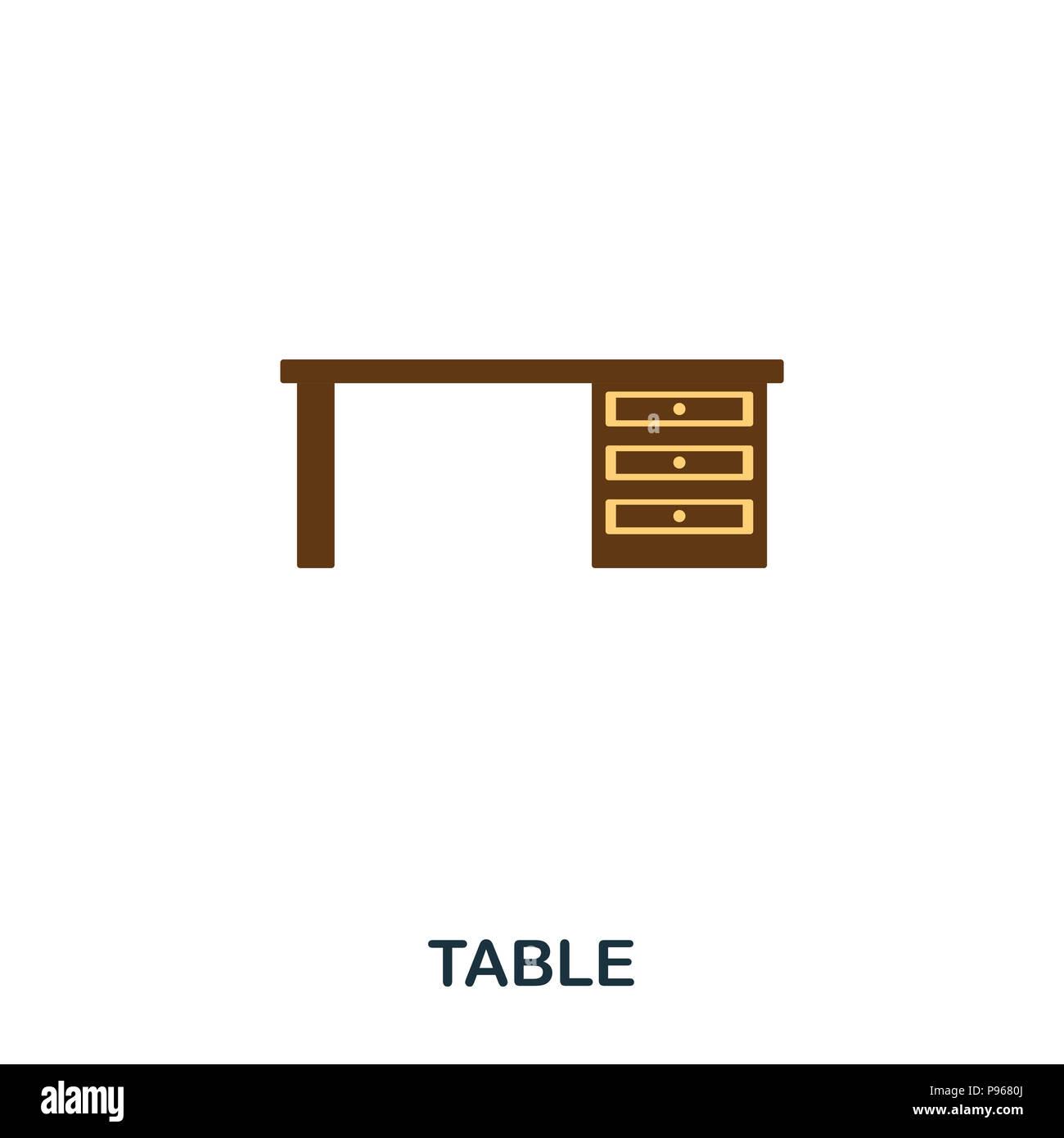 Télévision table icône. Icône style premium télévision design. L'ASSURANCE-CHÔMAGE. Illustration de l'icône table télévision. Les pictogrammes isolé sur blanc. Prêt à utiliser dans la conception de sites web, applications, s Banque D'Images