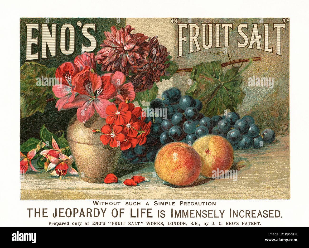 Magazine vintage pour insérer des fruits Eno le sel. Photo Stock