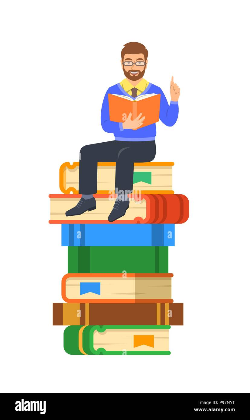 Jeune Homme Enseignant Lit Livre Ouvert Assis Sur Pile De