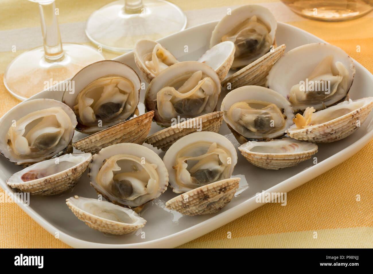 Avec un plat cuisiné frais ouvrir les palourdes vénus verruqueuse pour un repas Photo Stock