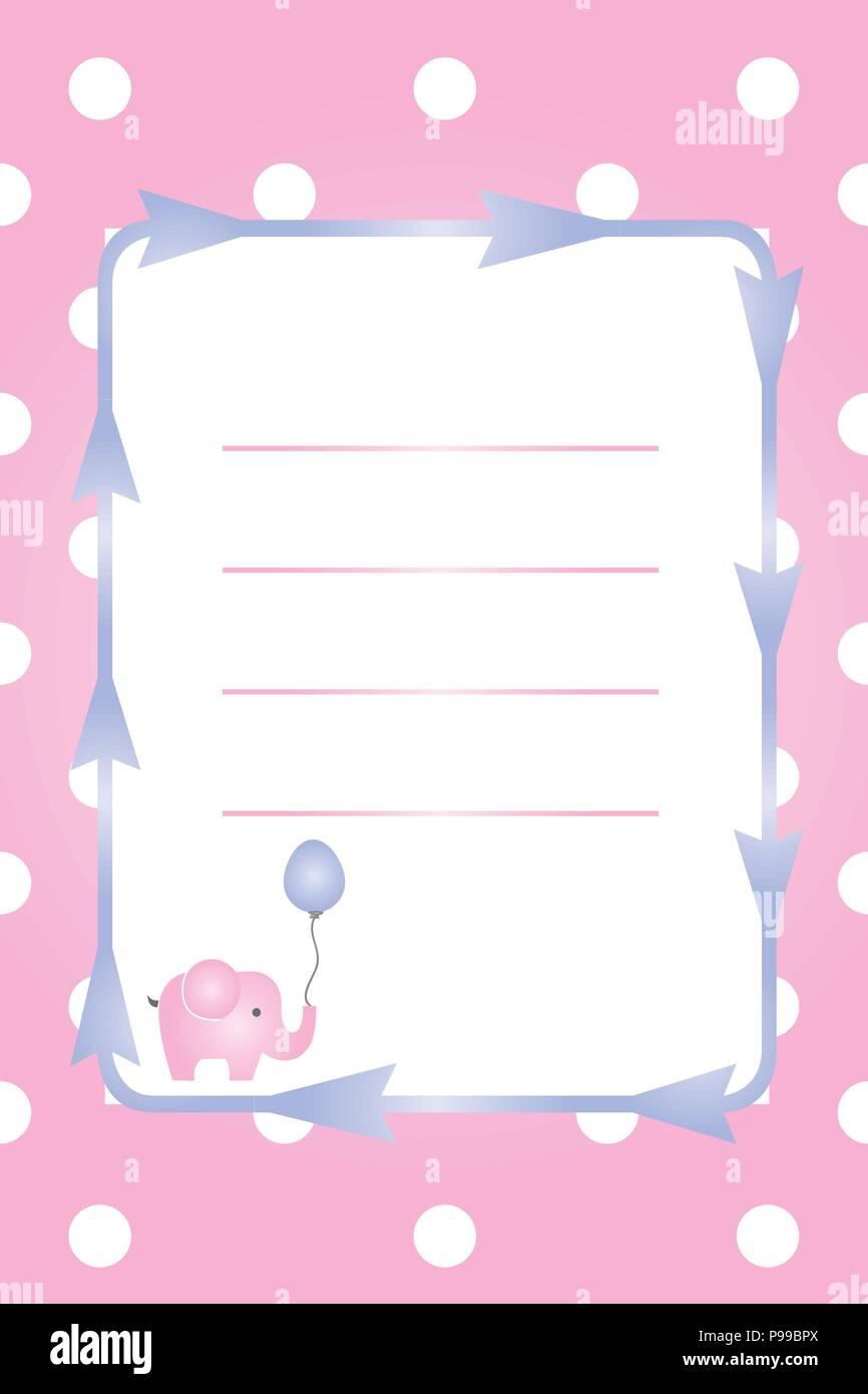 Carte fille de bébé - bébé douche partie - invitation - invitation baptême avec l'éléphant rose Illustration de Vecteur