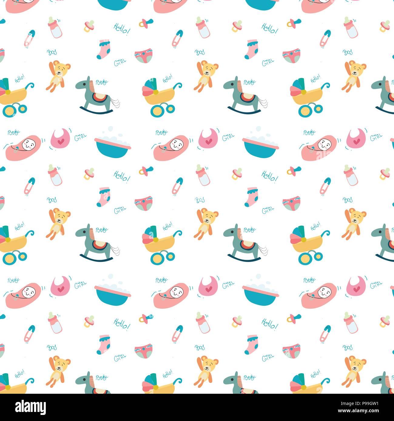 Doodle mignon jouet bébé stuff transparente motif Photo Stock 1bdd14fe100