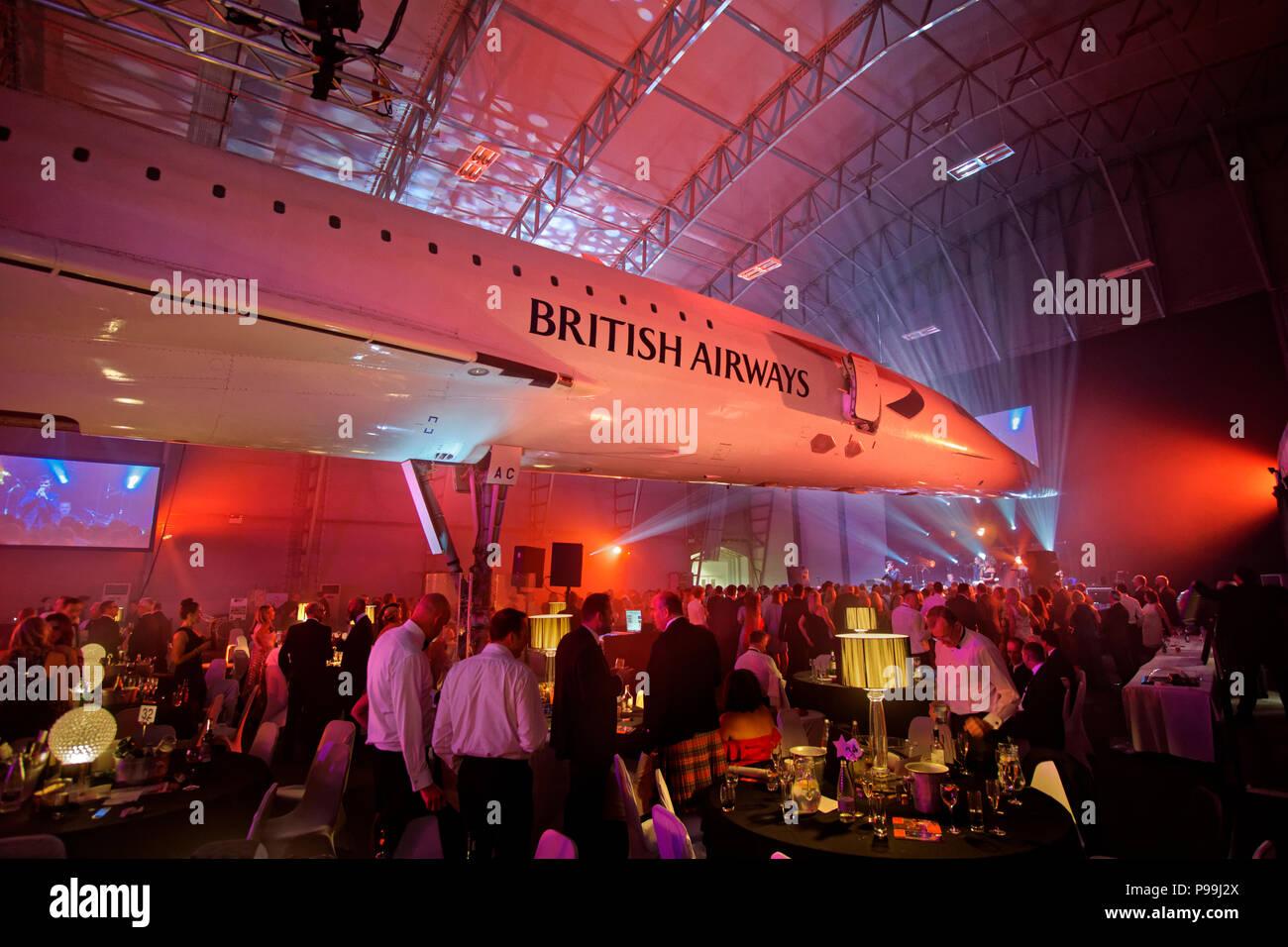 La suite Concorde à l'aéroport de Manchester est l'affichage park à Ringway, Manchester, Greater Manchester, Angleterre, Royaume-Uni. Photo Stock